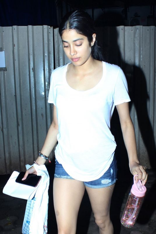 JANHVI KAPOOR in Denim Shorts Out in Mumbai 08/16/2019