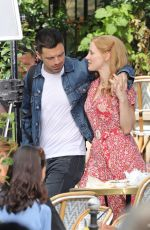 JESSICA CHASTAIN and Sebastian Stan on the Set of 355 in Paris 07/08/2019