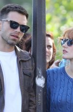JESSICA CHASTAIN and Sebastian Stan on the Set of 355 in Paris 07/12/2019