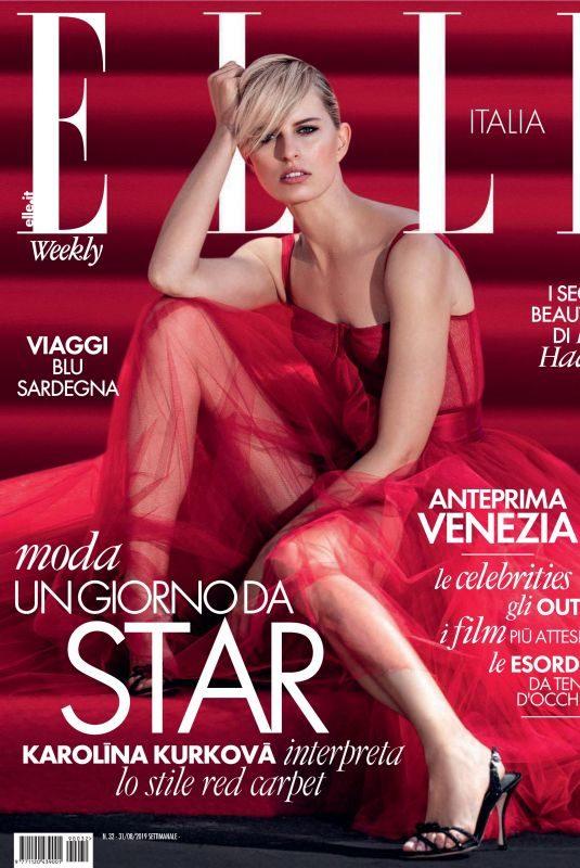 KAROLINA KURKOVA in Elle Magazine, Italy August 2019