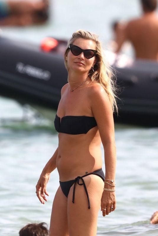 KATE MOSS in Bikini at a Beach in Saint-Tropez 08/22/2019