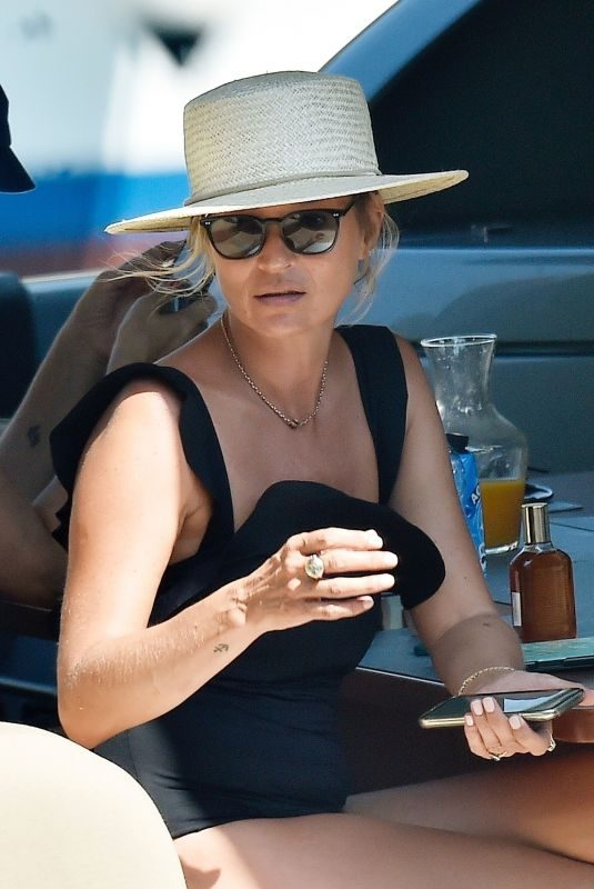KATE MOSS on Holiday in Portofino 08/09/2019