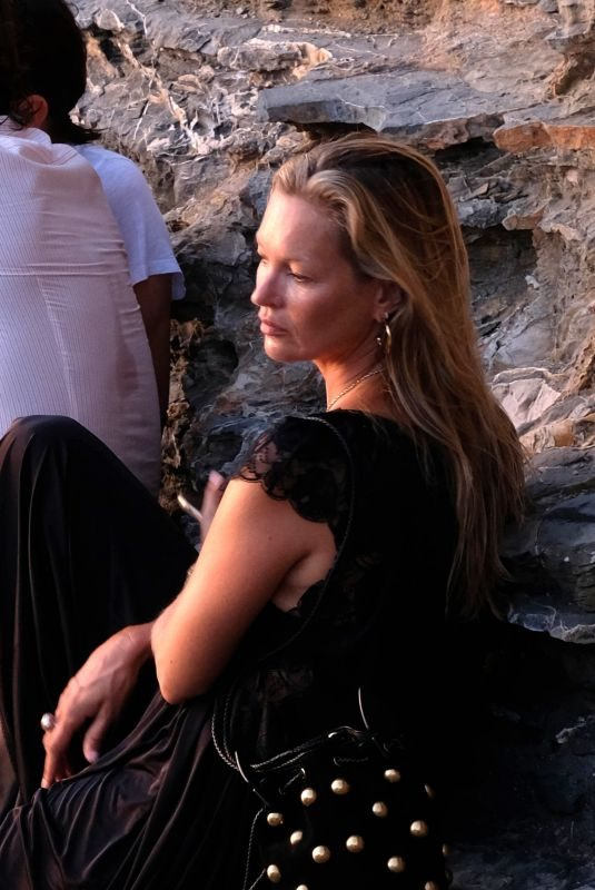 KATE MOSS Out on Holiday in Portovenere 08/11/2019