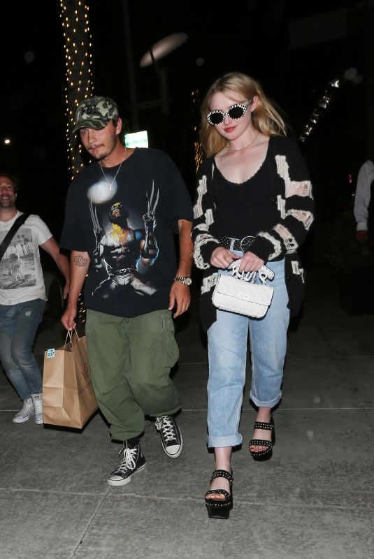 KATHRYN NEWTON and Brandon Thomas Lee at Spago Restaurant in Beverly Hills 08/21/2019