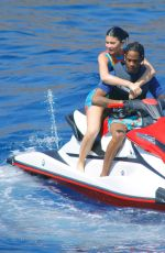 KYLIE JENNER and Travis Scott on a Jet Ski in Positano 08/10/2019
