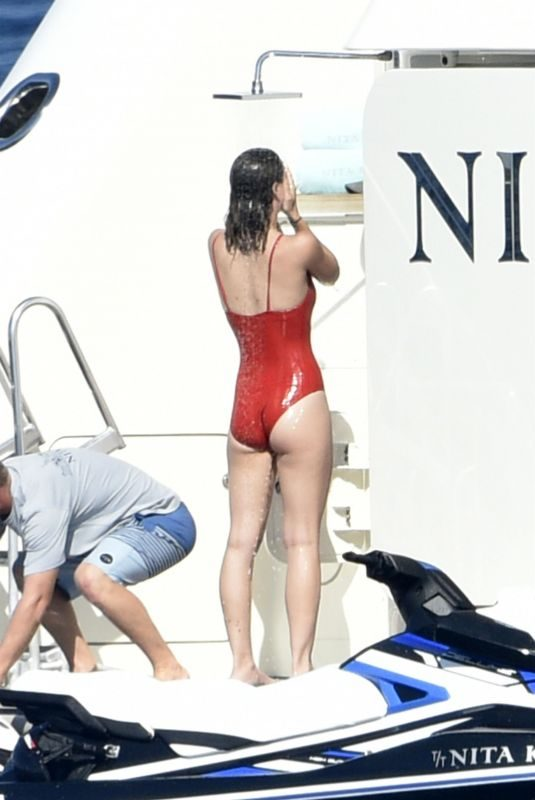 LEILA GEORGE in Swimsuit at a Yacht in Porto Cervo 08/10/2019