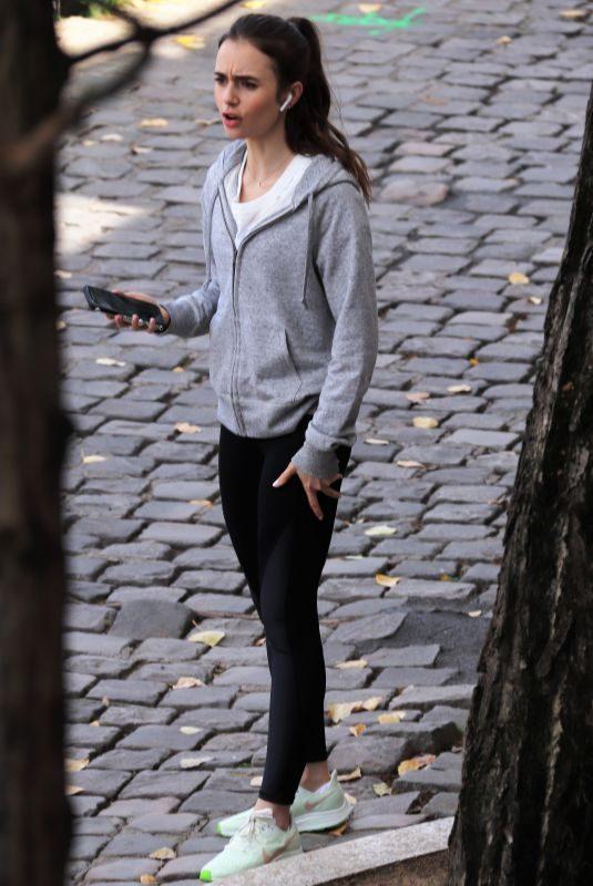 LILY COLLINS at Emily in Paris Set in Paris 08/19/2019