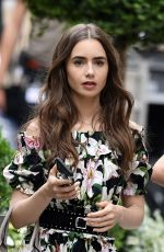 LILY COLLINS on the Set of Emily in Paris in Paris 08/13/2019