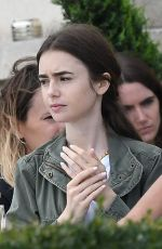 LILY COLLINS on the Set of Emily in Paris in Paris 08/16/2019