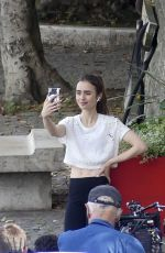 LILY COLLINS on the Set of Emily in Paris in Paris 08/19/2019