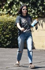 LUCY HALE in Ripped Denim Out and About in Los Angeles 08/13/2019