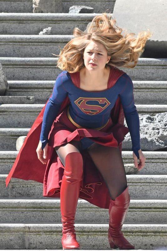 MELISSA BENOIST –  Old vs New Supergirl Suit