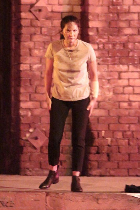 OLIVIA MUNN Filming Night Scene for Violet in Los Angeles 08/20/2019