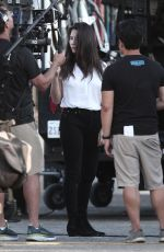 OLIVIA MUNN on the Set of Violet in Los Angeles 08/21/2019