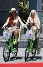PHOEBE PRICE and MARCELA IGLESIAS Out for a Bike Ride in Hollywood 07/31/2019