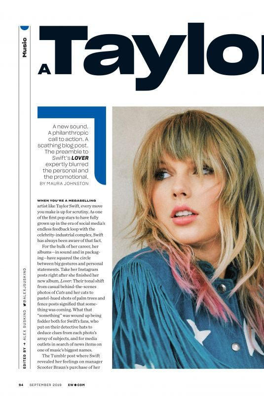 TAYLOR SWIFT in Entertainment Weekly, September 2019