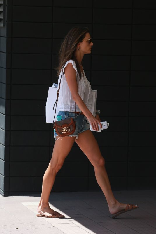 ALESSANDRA AMBROSIO in Denim Shorts Out in Santa Monica 08/29/2019