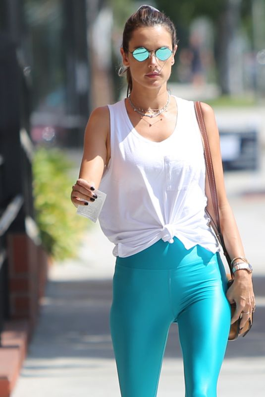 ALESSANDRA AMBROSIO in Leggings Out in Brentwood 09/17/2019