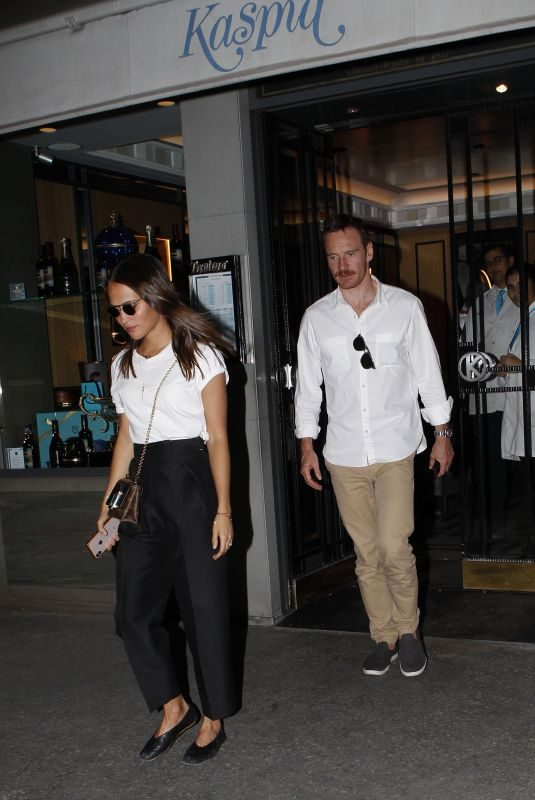 ALICIA VIKANDER and Michael Fassbender Night Out in Paris 09/04/2019