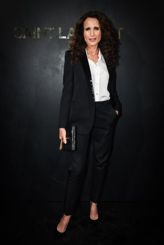 ANDIE MACDOWELL at Saint Laurent Womenswear Fasion Show at PFW in Paris 09/24/2019