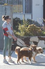 AUBREY PLAZA Out with Her Dogs in Los Angeles 08/22/2019