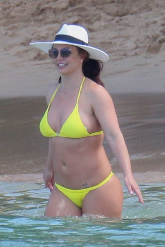 BRITNEY SPEARS in a Yellow Bikini at a Beach in Hawaii 09/10/2019
