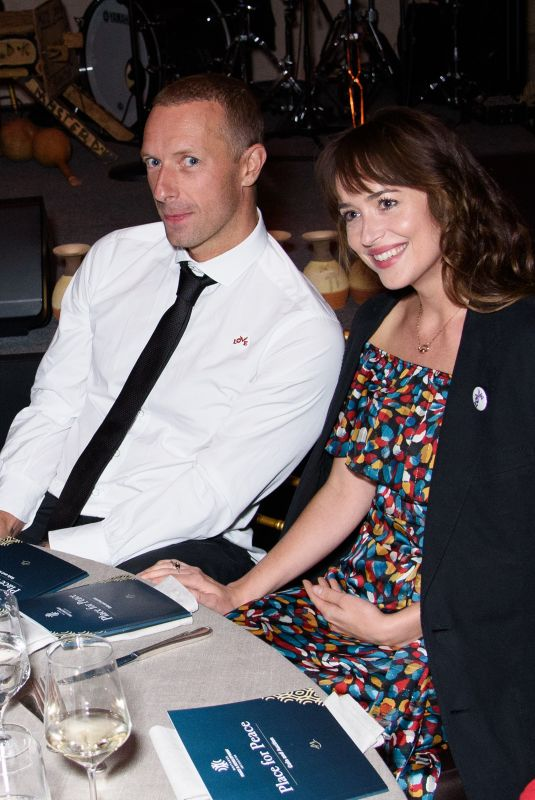 DAKOTA JOHNSON and Chris Martin at Place for Peace Event in New York 09/27/2019