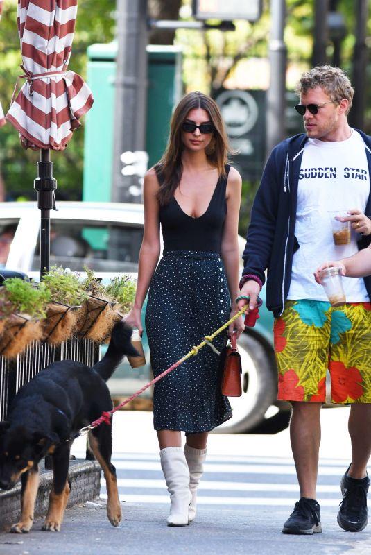 EMILY RATAJKOWSKI and Sebastian Bear-McClard Out with Their Dog in New York 09/21/2019