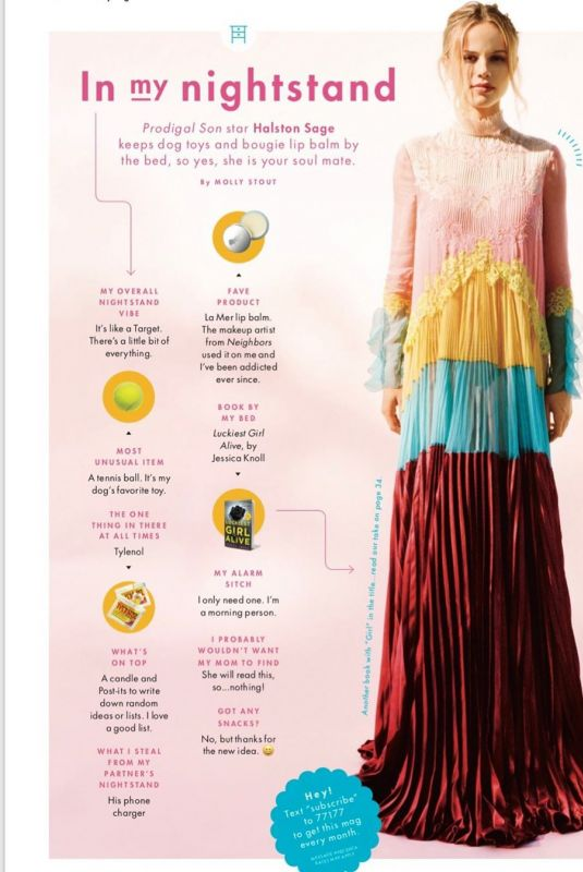 HALSTON SAGE in Cosmopolitan Magazine, 2019