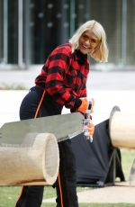 HOLLY WILLOGHBY at Stihl Games Challenge Cutting Timber at This Morning Show 09/11/2019
