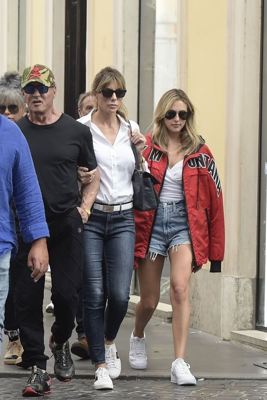 JENNIFER FLANVIN, SOPHIA and Sylvester Stallone in Rome 09/02/2019