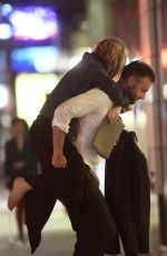 JENNIFER LAWRENCE Gets a Piggyback from Cooke Maroney Night Out in New York 09/12/2019