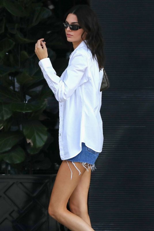 KENDALL JENNER in Denim Shorts Out in Beverly Hills 09/25/2019
