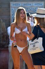 KIMBERLEY GARNER in White Bikini on the Beach in St Tropez 08/30/2019