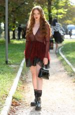 LARSEN THOMPSON Arrives at Philosophy Di Lorenzo Serafini Show at Milan Fashion Week 09/21/2019