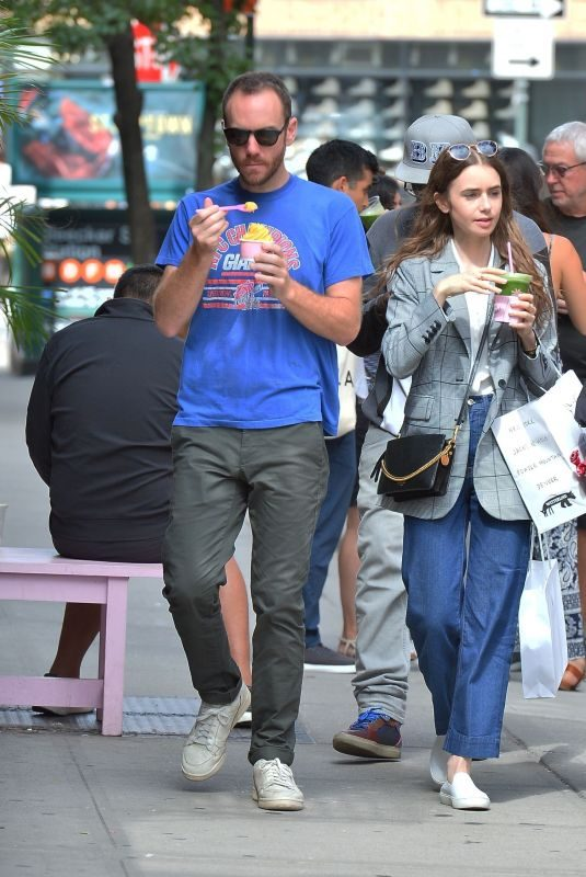 LILY COLLINS and Charlie McDowell Out in New York 09/07/2019