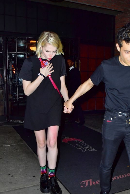 LUCY BOYNTON and Rami Malek Leaves Bowery Hotel in New York 09/28/2019