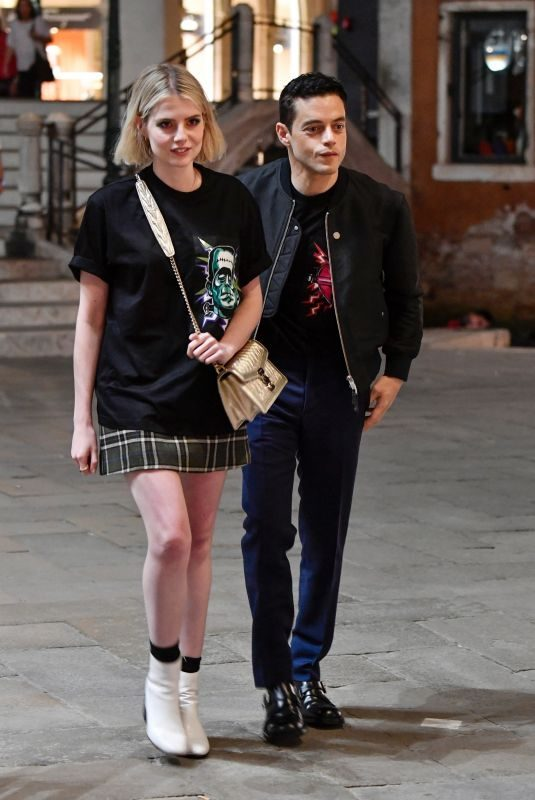 LUCY BOYNTON and Rami Malek Out and About in Venice 09/03/2019
