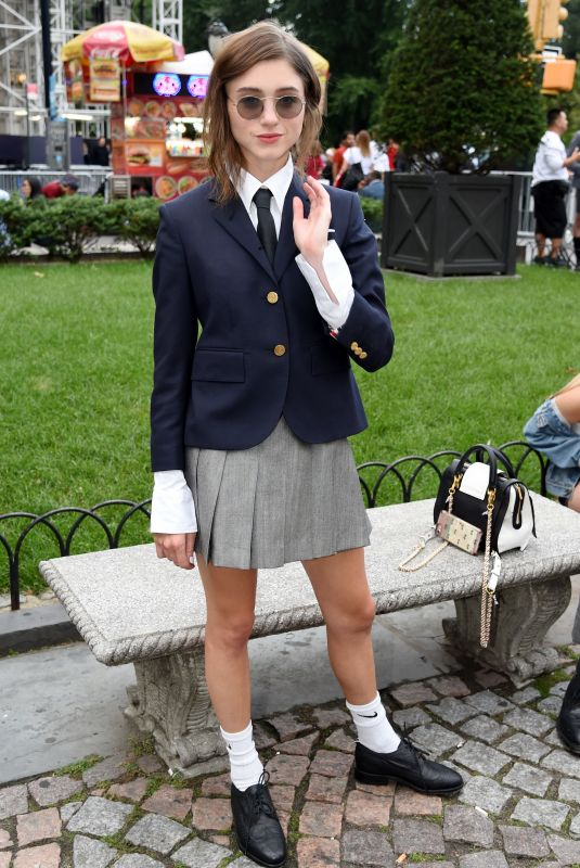 NATALIA DYER at Thom Browne The Officepeople Performance Installation at New York Fashion Week 09/07/2019