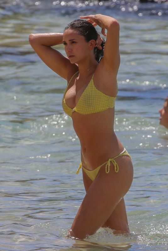 NINA DOBREV in Yellow Bikini at a Beach in Maui 09/02/2019