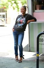 Pregnant CHRISTINA MILIAN at Her Beignet Box Truck in Studio City 09/19/2019