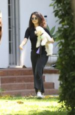 SELENA GOMEZ Out with Her Dog in Los Angeles 09/05/2019