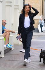 SHANINA SHAIK Out with Her Dog in New York 09/09/2019