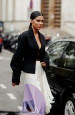 TINA KUNAKEY Arrives at Mugler Fashion Show in Paris 09/25/2019