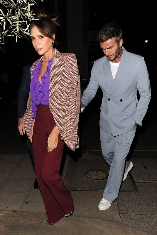 VICTORIA and David BECKHAM at a Private Dinner for Victoria Beckham's London Fashion Week Show 09/15/2019
