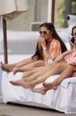 YAZMIN OUKHELLOU, CHLOE MEADOWS and COURTNEY GREEN on the Set of TOWIE in Marbella 09/17/2019