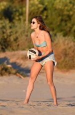 ALESSANDRA AMBROSIO in Bikini Top and Denim Cut-off at a Beach in Santa Monica 10/21/2019