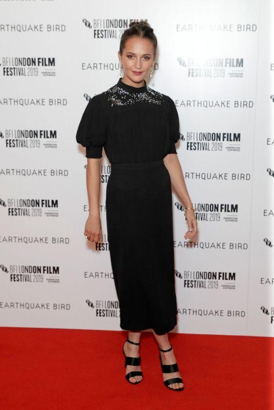 ALICIA VIKANDER at Earthquake Bird Premiere at 63rd BFI London Film Festival 10/10/2019