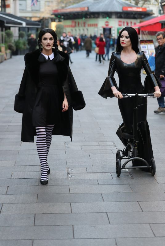 AMANDA HOLDEN and ASHLEY ROBERTS as Morticia and Wednesdey Addams Leaves Heart Radio 10/31/2019