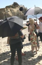 ANA DE ARMAS Plays the Role of Marilyn Monroe Filming on the Beach in Malibu 10/06/2019